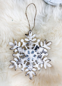Two-Dimensional Vintage Metal Snowflake Ornament