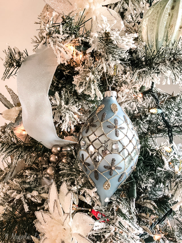 Set of Three Pale Blue Jewel Pattern Embellished Ornaments