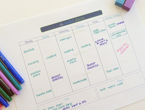 Printable Student Planner {both Color and Black and White versions}
