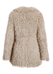 beige plush teddy coat
