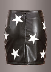 Black Faux Leather Mini Skirt with White Star Embellishments