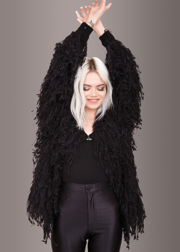 Black Shaggy Jacket | Rocker Clothes