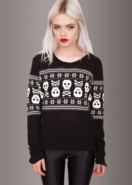 Bad To the Bone Uglc Christmas Skull Sweater