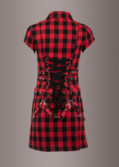 checkered punk mini dress