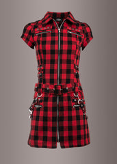 plaid tartan punk mini dress