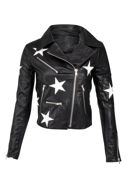 Star print black leather jacket
