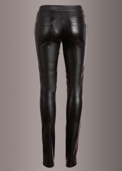 Rockstar Punk Rave Black Vegan Leather Lace-Up Pants