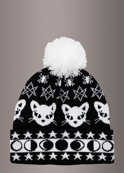 Witchy Black Cat & Moons Pom Pom Beanie Hat