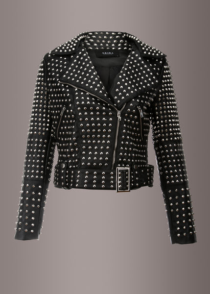 black leather jacket with allover studs
