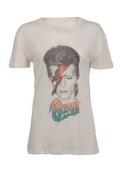 white David Bowie band tshirt