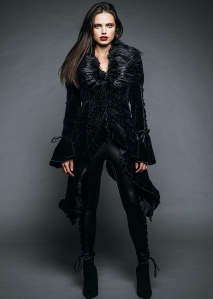 Womens Black Velvet Goth Jacket