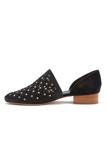 Matisse Constellation Black Leather Star Studded Flats