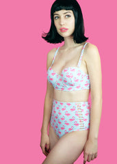 Pink Flamingo Retro High Waist Bikini Set