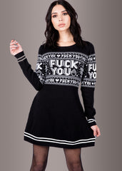 Sourpuss F You Skull Sweater Dress