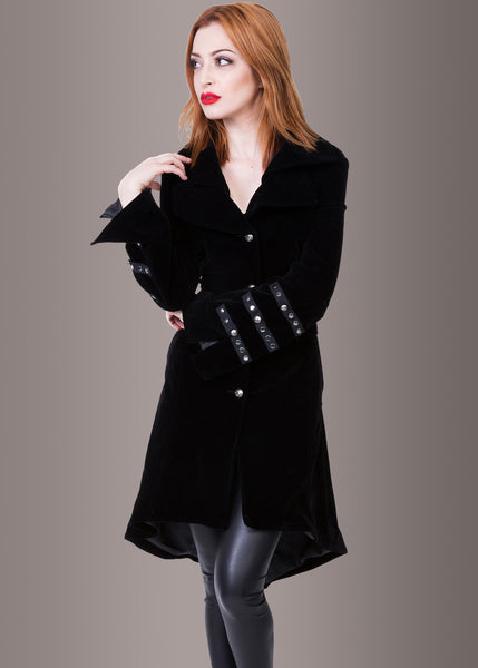 Velvet Victory Coat with Studded Details and Back Lacing
