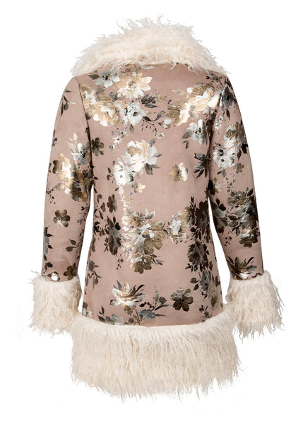 Free Bird Floral Faux Fur Open Coat