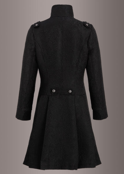 Black Brocade Victorian Coat Jacket with Buttons