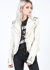Off White Studded Moto Jacket