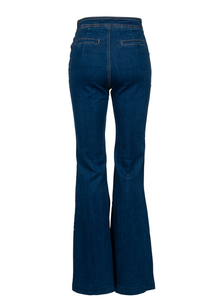 Retro High Waist Flared Denim Bell Bottom Pants with Buttons