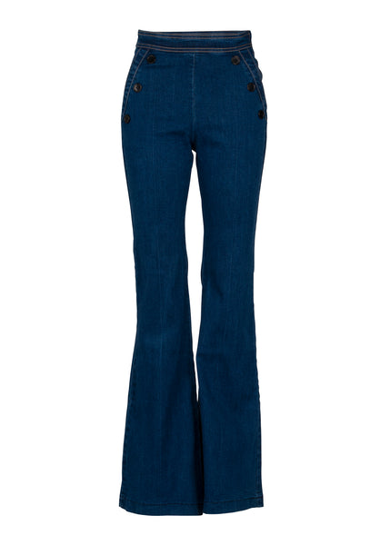 high waist denim bell bottoms