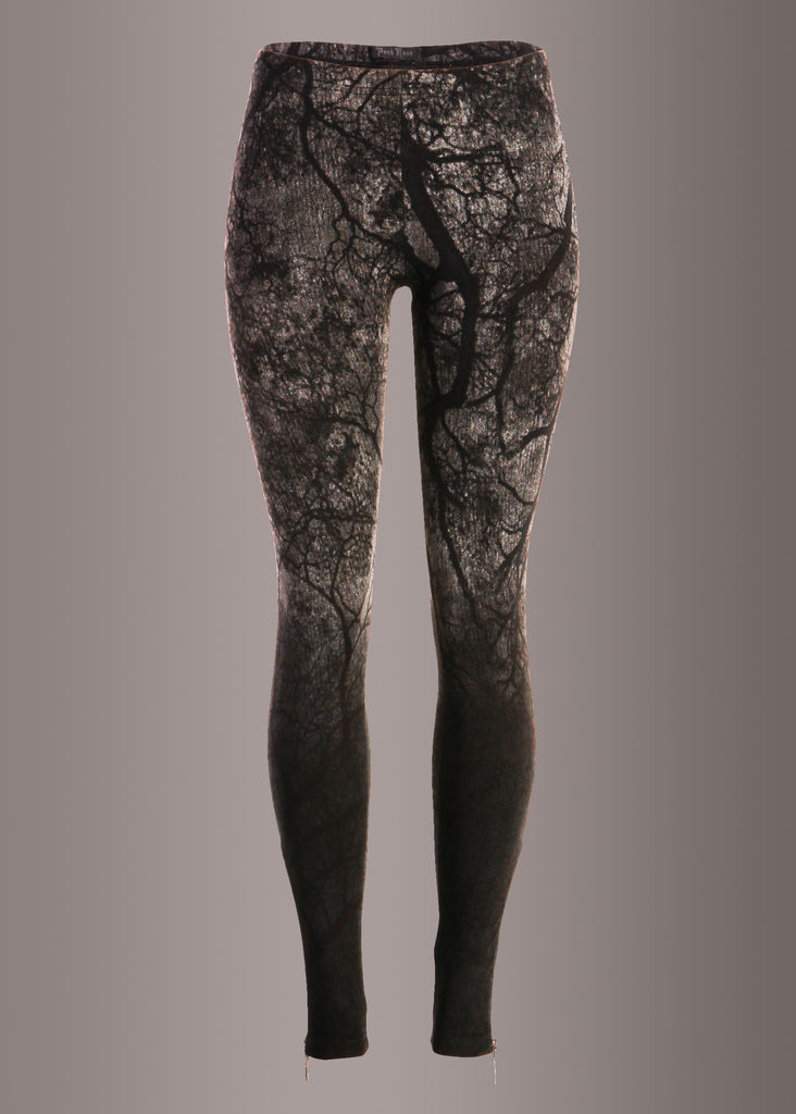 Punk Rave Ombre Denim Leggings with Branch Design