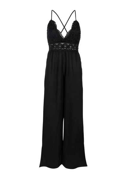 Sleevesless Black Lace Jumpsuit with Deep V