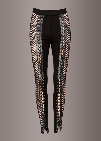 Unchained Black Fishnet Lace Up High Waist Pants
