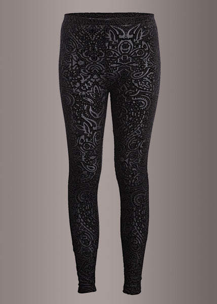 Black Velvet Lace Leggings