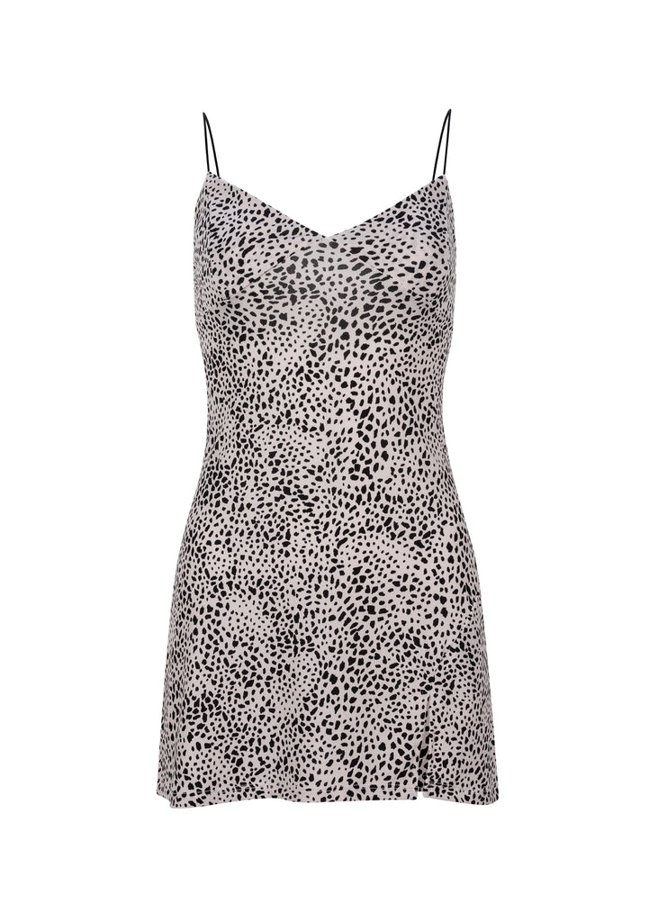 Sleeveless Leopard Print Slip Dress