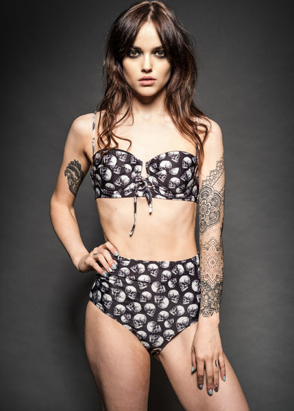 Skull high waist swimsuit