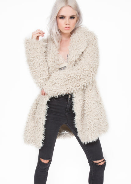 Beige winter faux fur coat