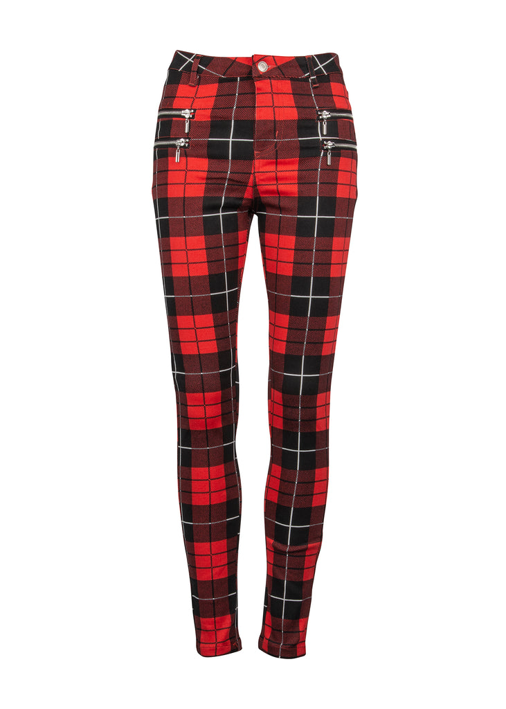 Black and red skinny punk pants