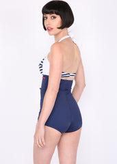 Sail Away 50s Retro Nautical One Piece Swimsuit