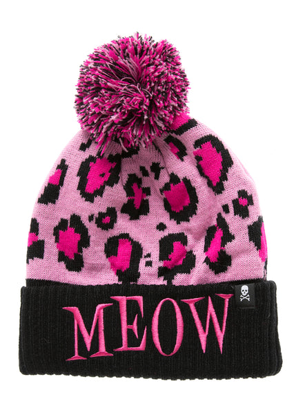 Pink Leopard Hat with Pom Pom
