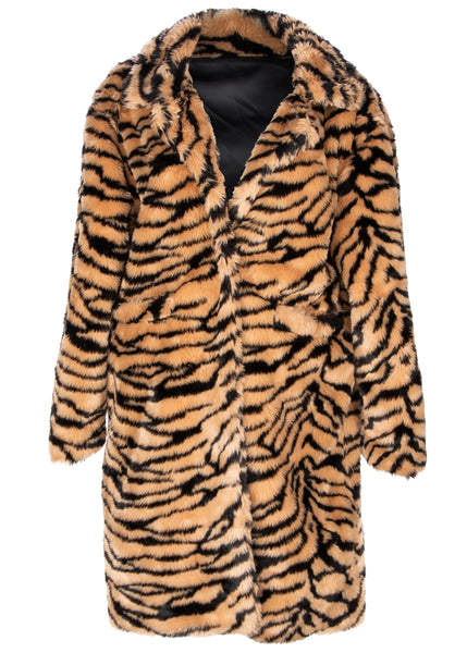 Tiger Pattern Oversized Faux Fur Coat Animal Print Plush Jacket
