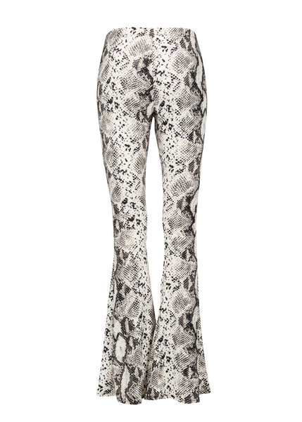 White snake print bell bottom pants