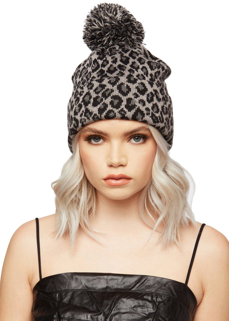 animal print beanie hat