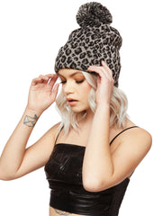 animal print knit hat