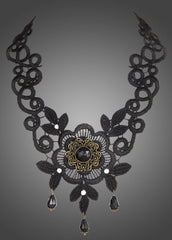 beaded black lace necklace
