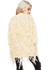 beige shaggy knit jacket