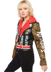 biker jacket with graffiti