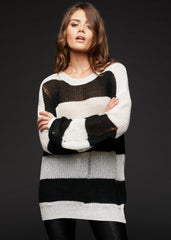 black and white destroyed sweater