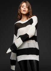 black and white striped distressed sweater
