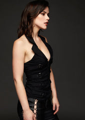 black halter top with buckles