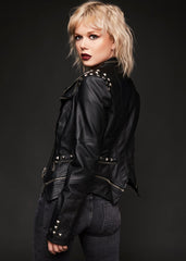 black biker jacket with studs