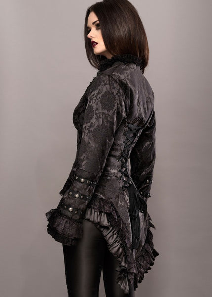 black brocade tail jacket