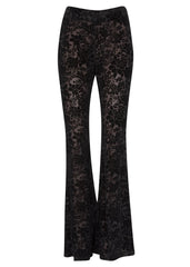 black burnout velvet flares