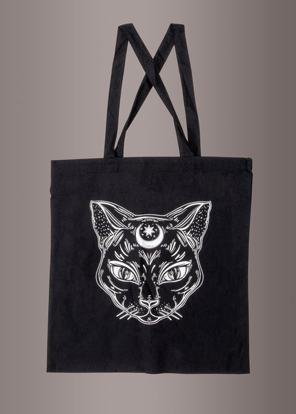 Black Cat Witchy Halloween Tote Bag