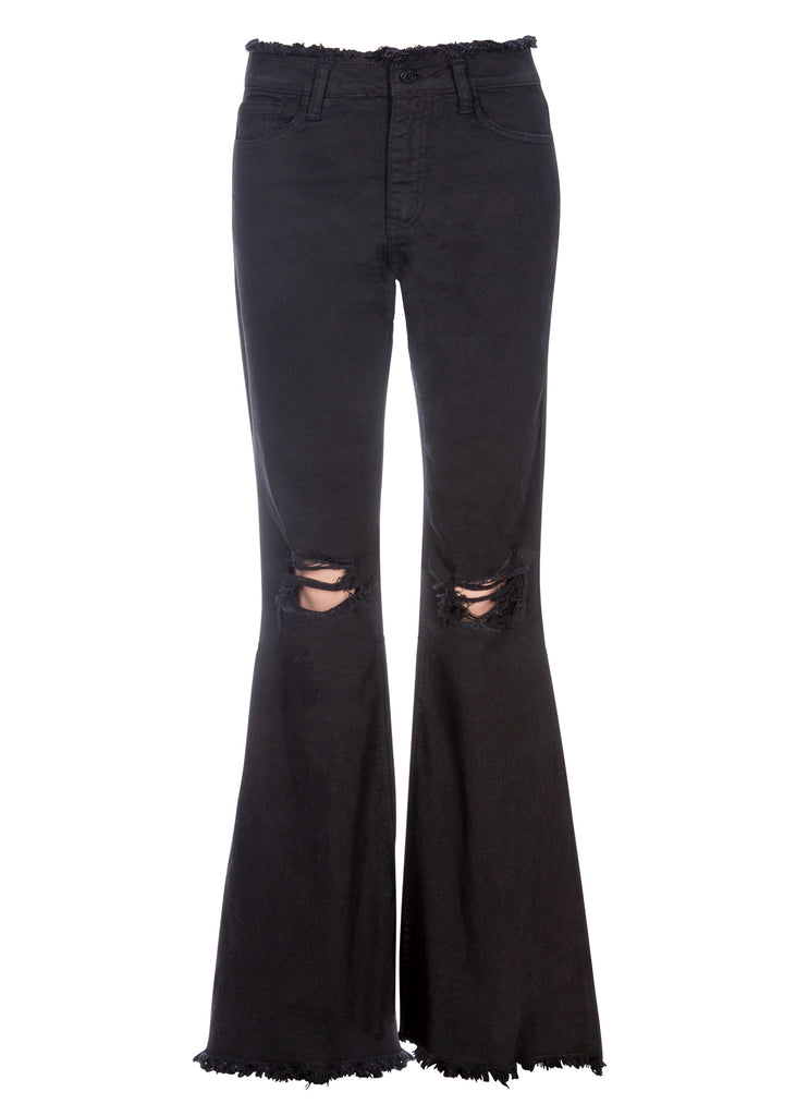 black denim bell bottoms with belt