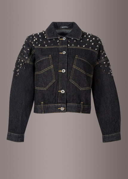 Cropped Black Denim Jacket with Studs